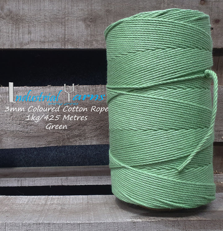 3mm Twisted Rope Green