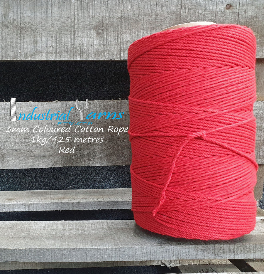 3mm Twisted Rope Red