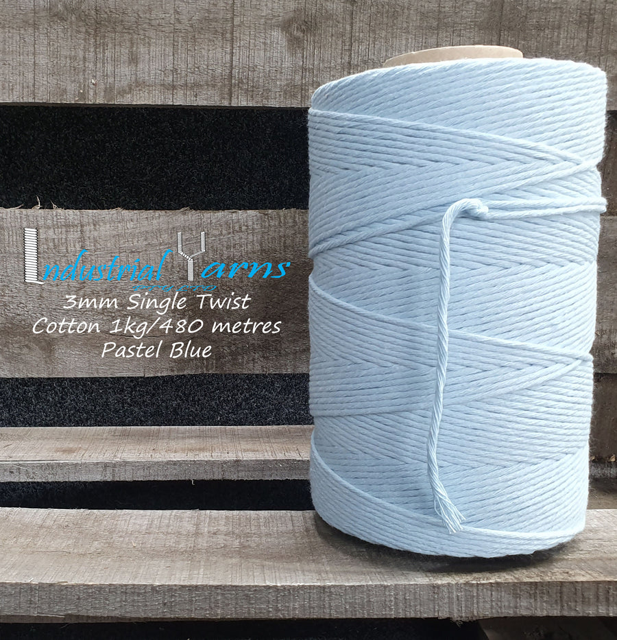 3mm Single Twist Cotton Pastel Blue