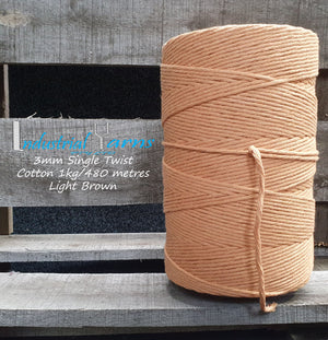 3mm Single Twist Cotton Light Brown