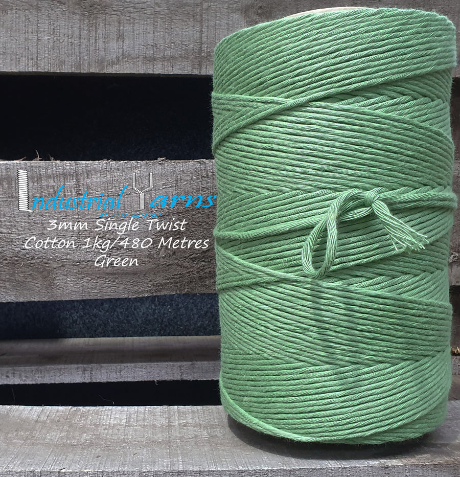 3mm Single Twist Cotton Green