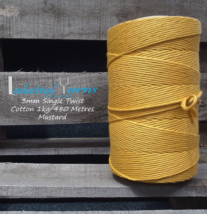 3mm Single Twist Cotton Mustard