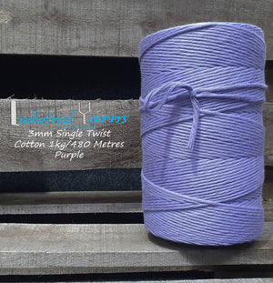 3mm Single Twist Cotton Purple