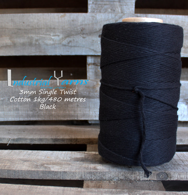 3mm Single Twist Cotton Black