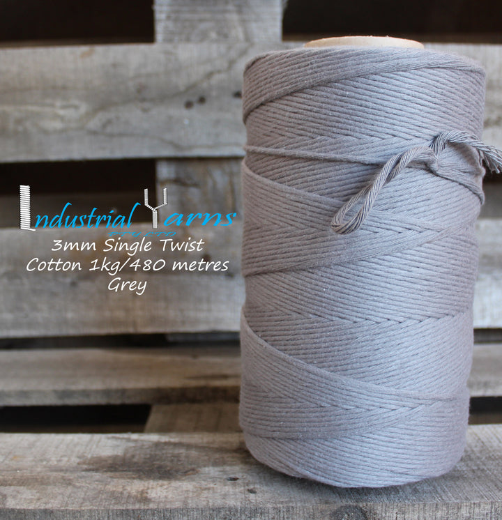 3mm Single Twist Cotton Grey