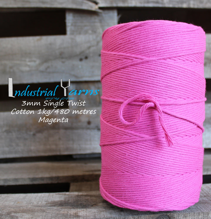 3mm Single Twist Cotton Magenta