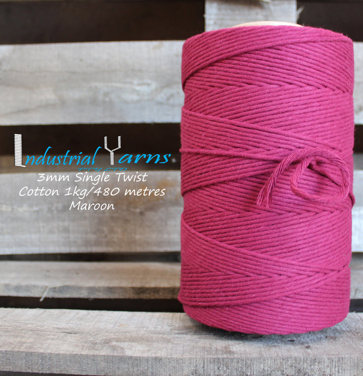 3mm Single Twist Cotton Maroon