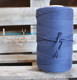 3mm Single Twist Cotton Navy