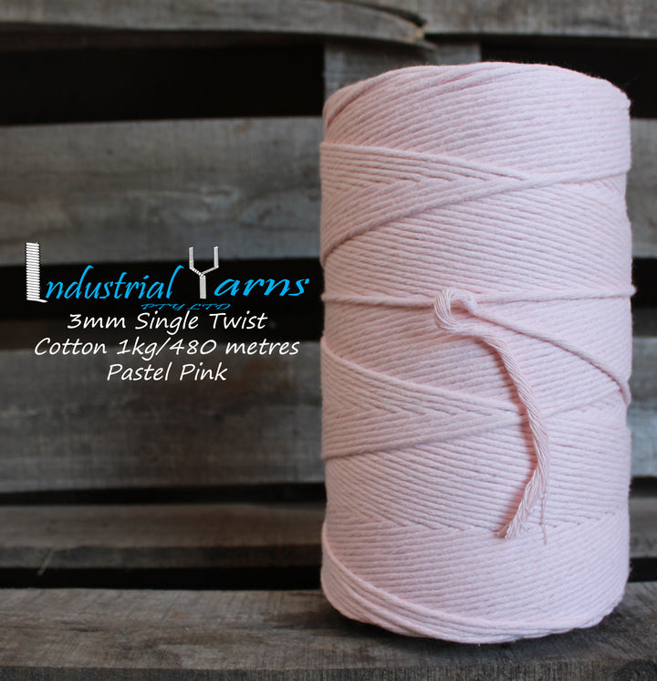 3mm Single Twist Cotton Pastel Pink