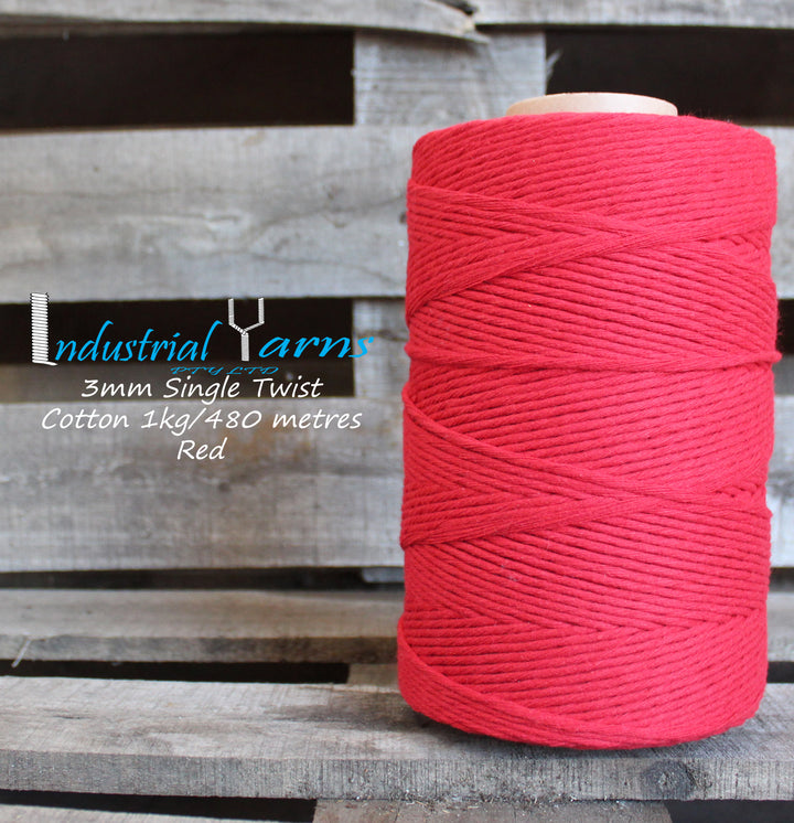 3mm Single Twist Cotton Red