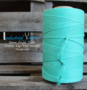 3mm Single Twist Cotton Turquoise