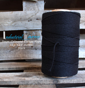 3mm Twisted Rope Black