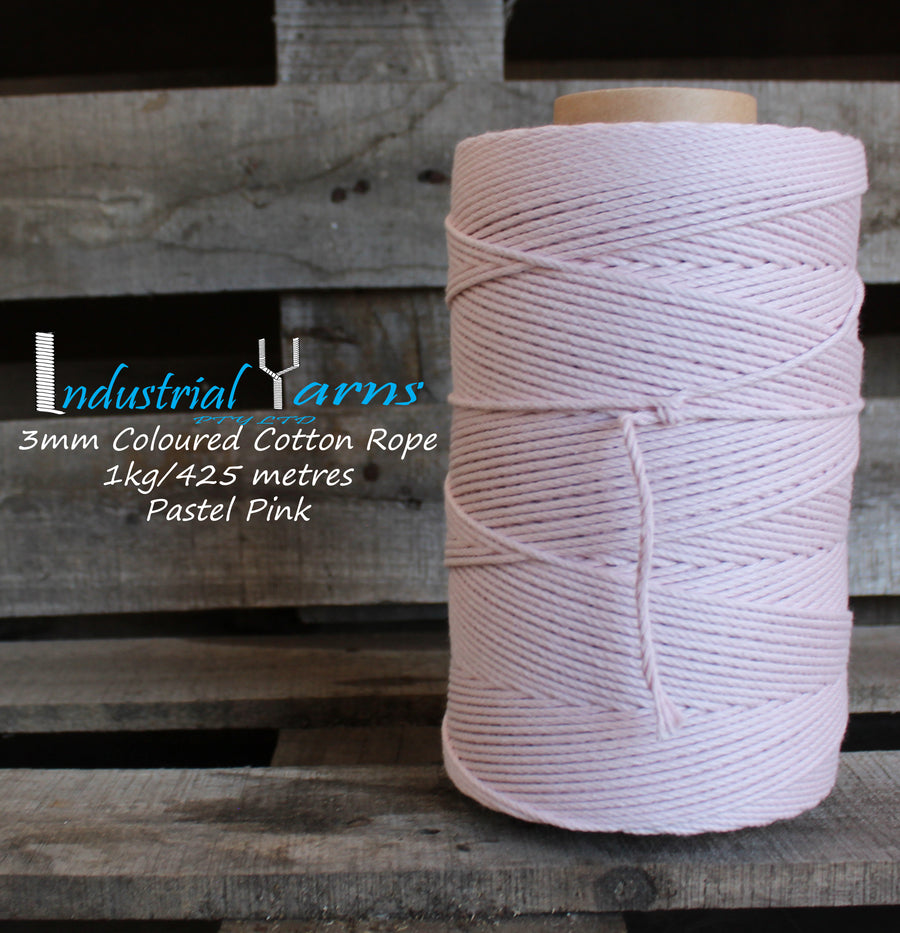 3mm Twisted Rope Pastel Pink