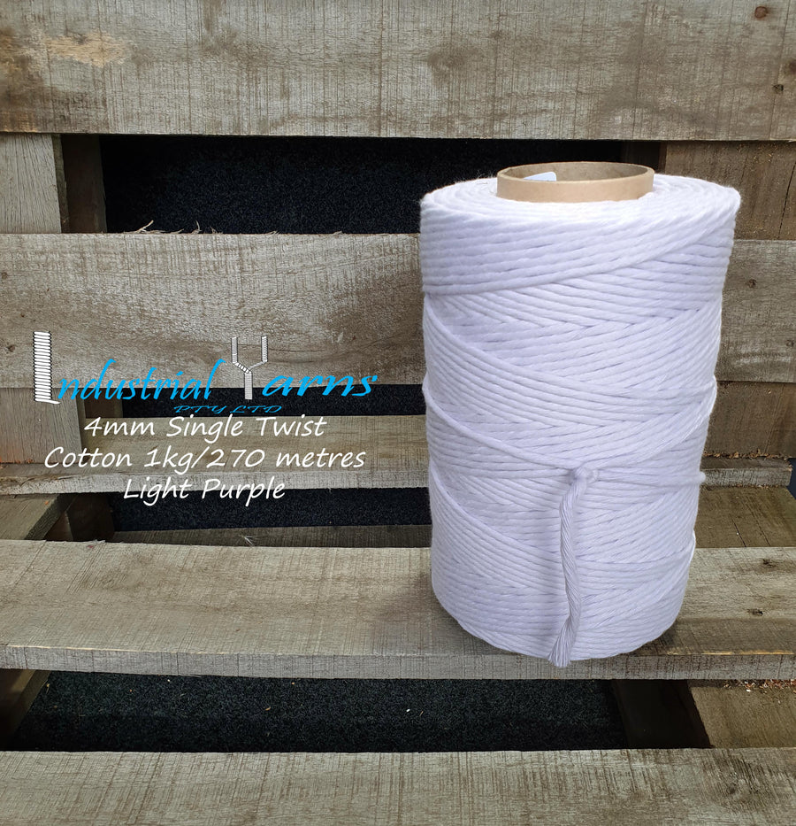 4mm Single Twist Cotton Light Purple