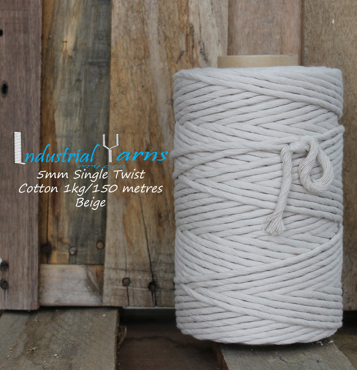 5mm Single Twist Cotton Beige