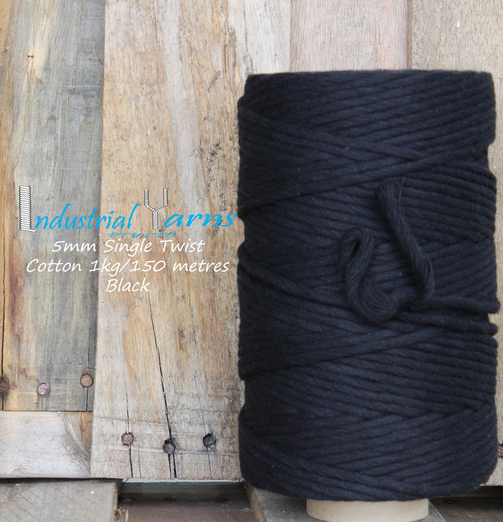5mm Single Twist Cotton Black
