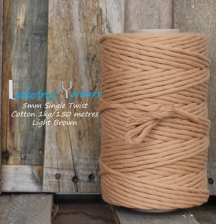 5mm Single Twist Cotton Light Brown