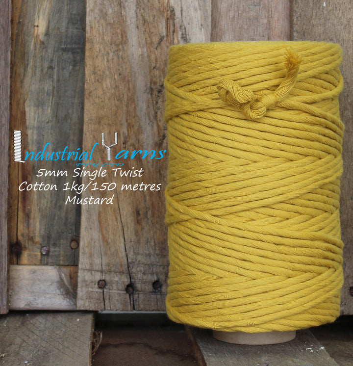 5mm Single Twist Cotton Mustard