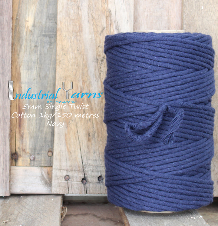 5mm Single Twist Cotton Navy