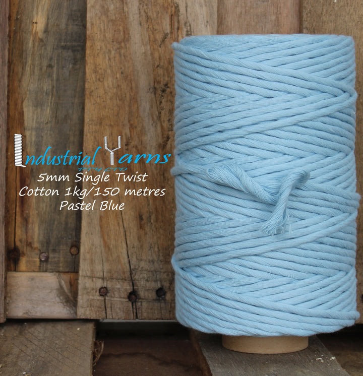 5mm Single Twist Cotton Pastel Blue