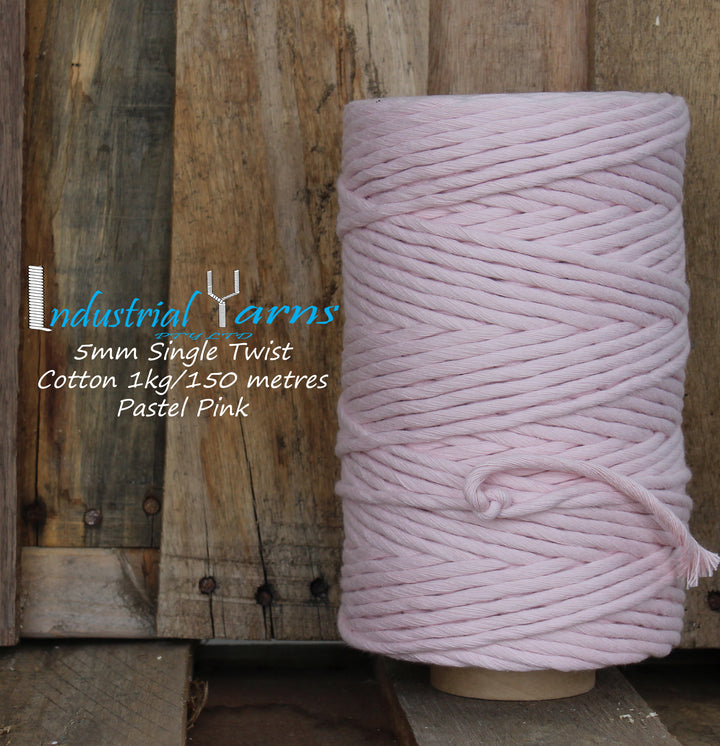 5mm Single Twist Cotton Pastel Pink