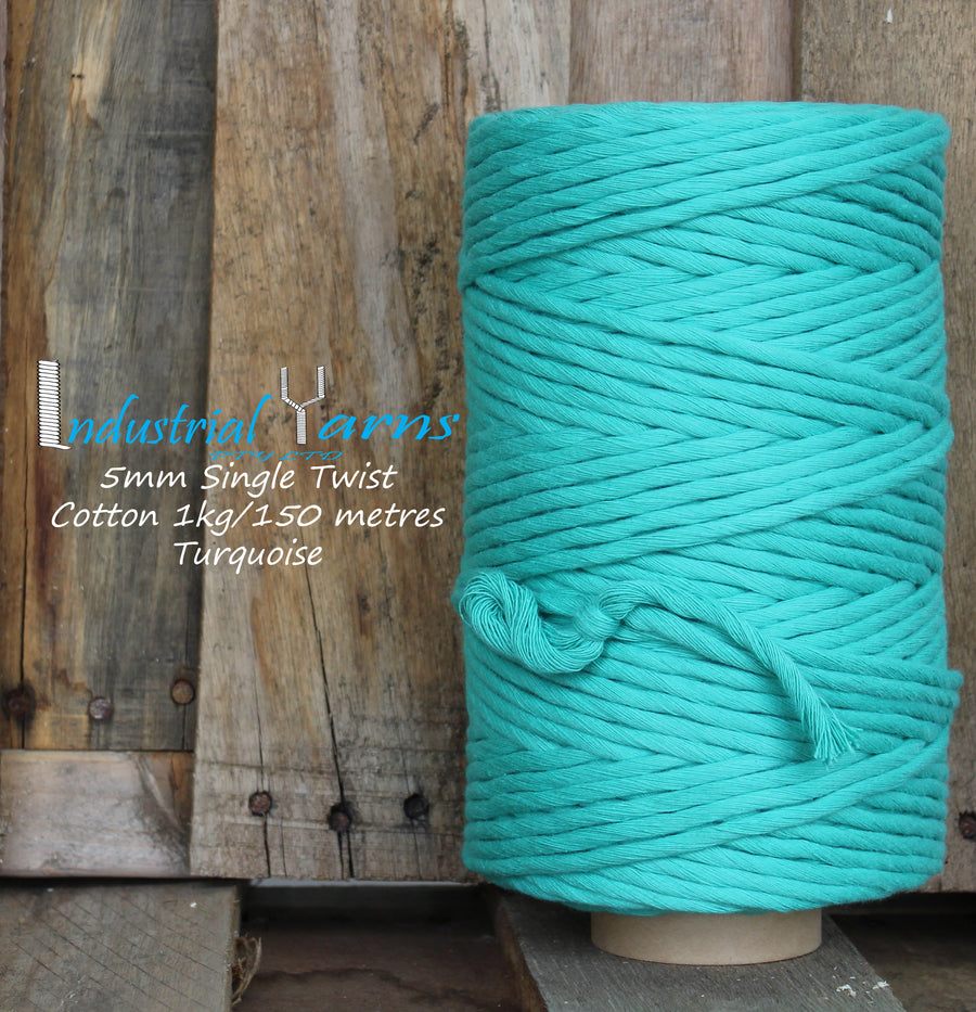 5mm Single Twist Cotton Turquoise