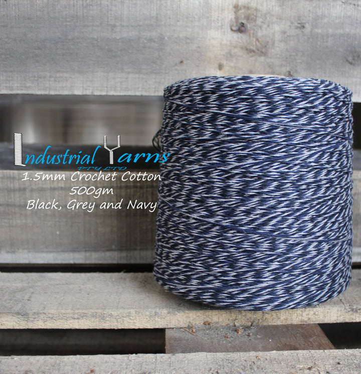 1.5mm Twisted Cotton Black, Grey and Navy