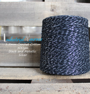 1.5mm Twisted Cotton Black and Silver Metallic