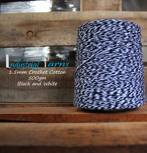 1.5mm Twisted Cotton Black & White