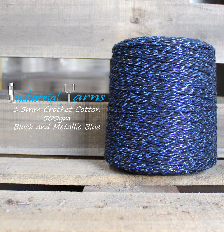 1.5mm Twisted Cotton Black & Metallic Blue