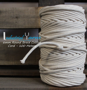 6mm Round Braid Cotton Cord 100m