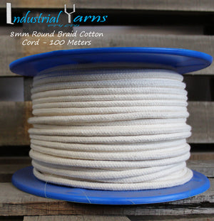 8mm Round Braid Cotton Cord 100 Meters