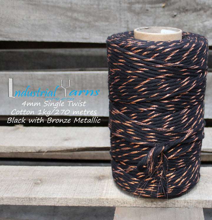 4mm Single Twist Cotton Black with Bronze Metallic