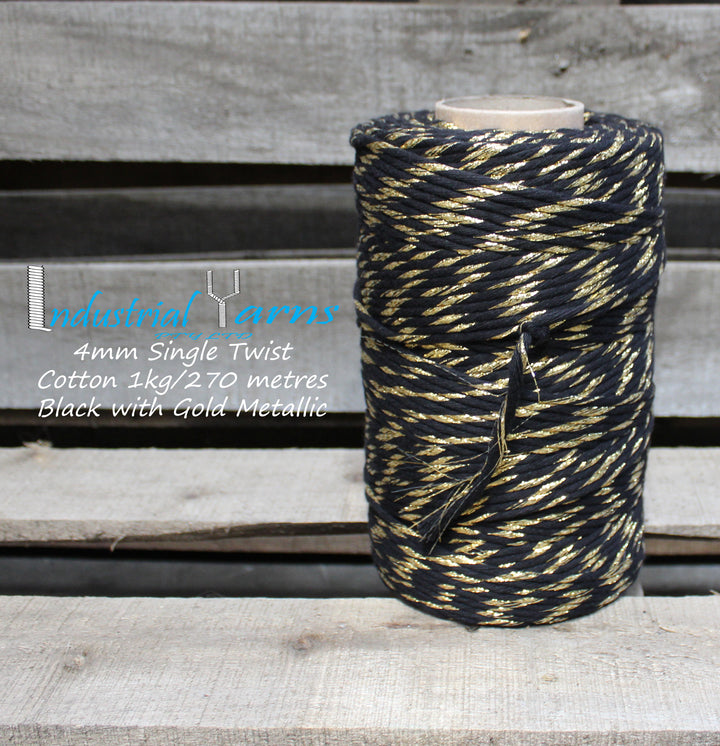 4mm Single Twist Cotton Black with Gold Metallic