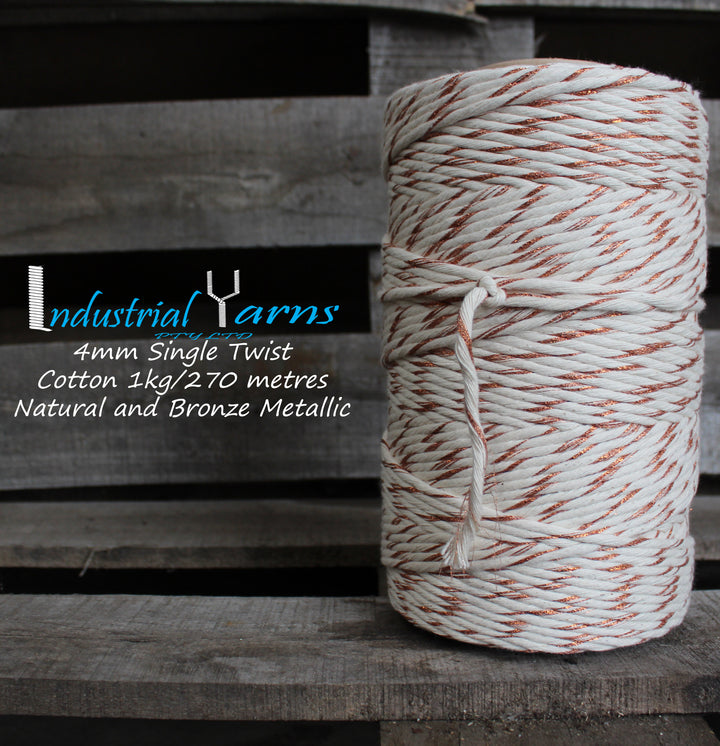 4mm Single Twist Cotton Natural with Bronze Metallic