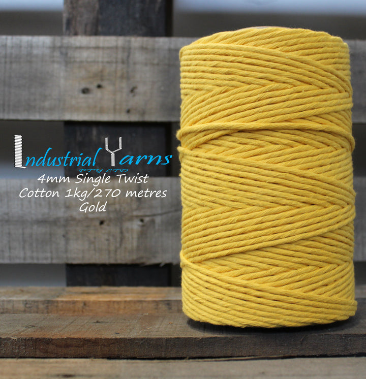 4mm Single Twist Cotton Gold