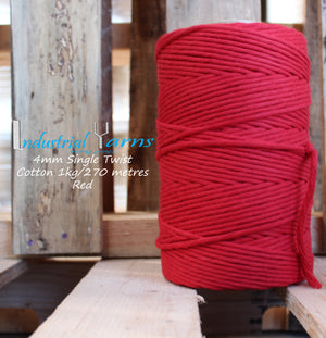 4mm Single Twist Cotton Red