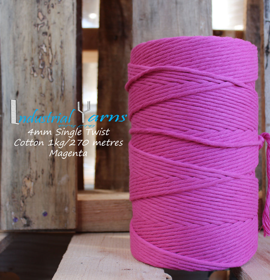 4mm Single Twist Cotton Magenta