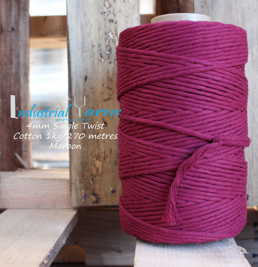 4mm Single Twist Cotton Maroon