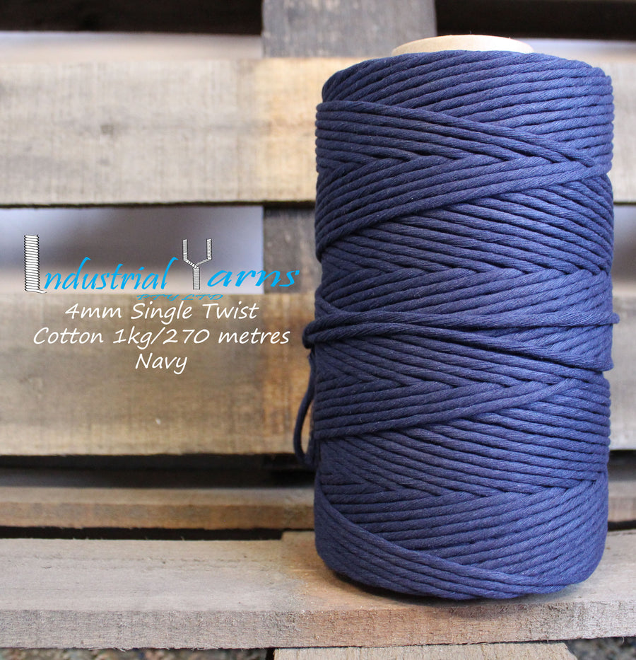 4mm Single Twist Cotton Navy