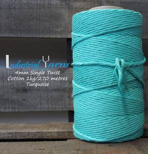 4mm Single Twist Cotton Turquoise