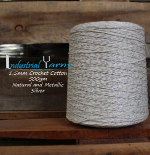 1.5mm Twisted Cotton Natural and Silver Metallic