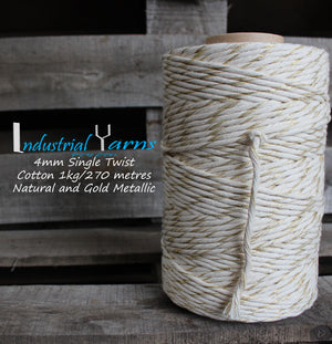 4mm Single Twist Cotton Natural with Gold Metallic
