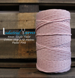 4mm Single Twist Cotton Pastel Pink