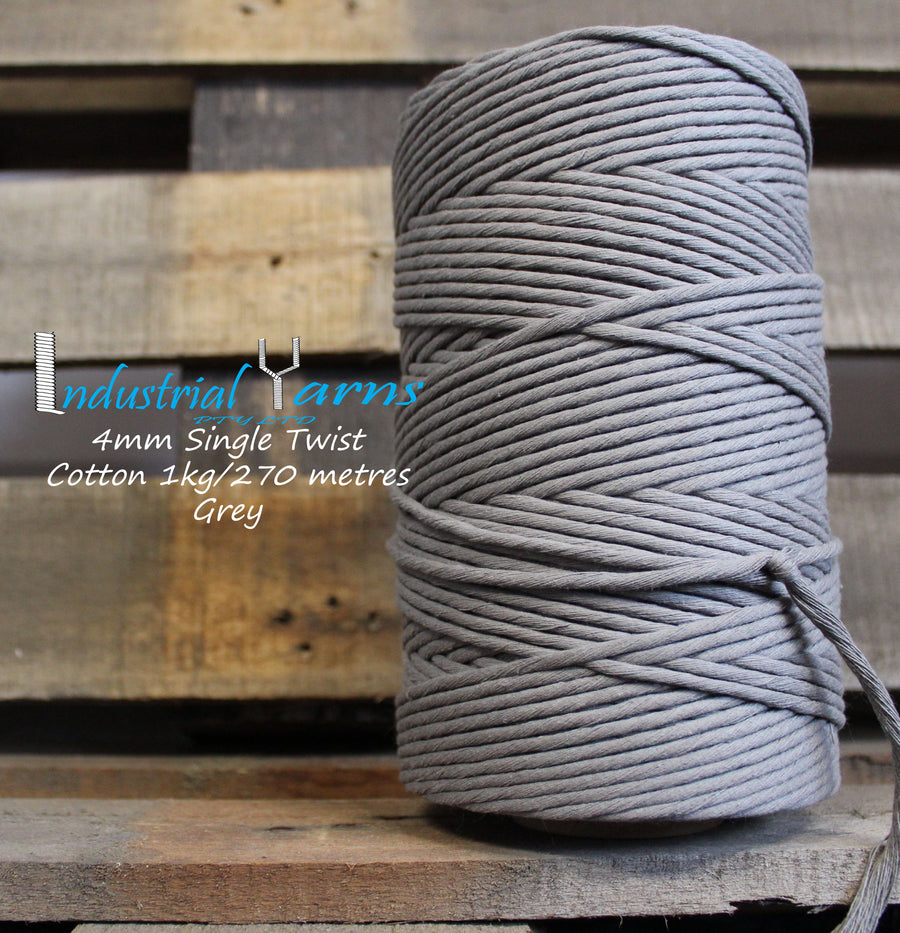 4mm Single Twist Cotton Grey