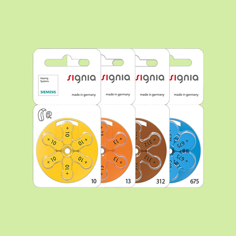 Hearing Aid Batteries - Signia Brand - All Sizes (6 Cells Per Packet)