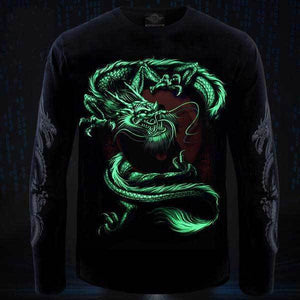 3D Dragon Glow In The Dark Long Sleeve Shirt - Superdeals-Cart