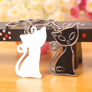 Black & White Cat Fox Pendants Keychain - Superdeals-Cart