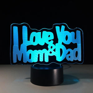 3D LED I Love You Mom And Dad Night Light - Superdeals-Cart