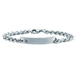 AZIZ BEKKAOUI Personalized Name Stainless Steel Bracelets For Women Men ID Bracelet Inset Zircon Stone Lover Couple Bracelet - Superdeals-Cart